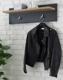 Garderobenpaneel Beveren in Kastanie und Fresco grau Flur Wandgarderobe 80 x 23 cm
