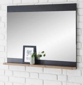 Garderobenspiegel Beveren in Fresco grau und Kastanie Flur Spiegel mit Ablage 92 x 71 cm
