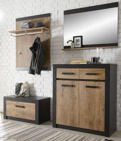 Garderobenkombination Beveren in Kastanie und Fresco grau Garderobe Set 4-teilig 192 x 200 cm