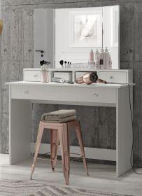 Schminktisch Basix in weiß Kosmetiktisch mit Schublade und Spiegel klappbar 110 x 144 cm