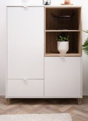 Highboard Menorca in weiß und Shabby Used Wood hell Anrichte 103 x 139 cm Pale Wood