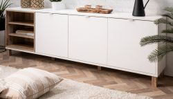 Sideboard Menorca in weiß und Shabby Used Wood hell Kommode 200 x 65 cm Pale Wood