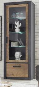 Vitrine Beveren in Kastanie und Fresco grau Vitrinenschrank 67 x 200 cm