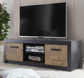 TV-Lowboard Beveren in Kastanie und Fresco grau TV-Unterteil 153 x 49 cm