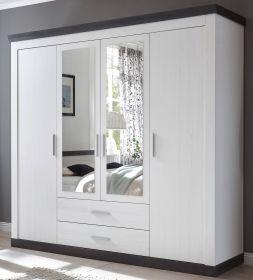 Kleiderschrank Corela in Pinie weiß und Wenge Landhaus Drehtürenschrank 4-türig mit Spiegel 217 x 201 cm