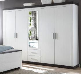 Kleiderschrank Corela in Pinie weiß und Wenge Landhaus Drehtürenschrank 5-türig mit Spiegel 265 x 201 cm