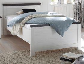 Bett Corela in Pinie weiß und Wenge Landhaus Einzelbett Liegefläche 100 x 200 cm