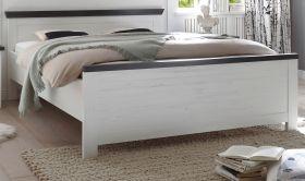 Bett Corela in Pinie weiß und Wenge Landhaus Doppelbett Liegefläche 180 x 200 cm