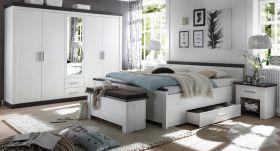 Schlafzimmer komplett Corela in Pinie weiß und Wenge Landhaus Komplettzimmer mit Doppelbett, Kleiderschrank, 2 x Nachttisch und Sitztruhe