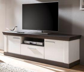 TV-Lowboard Corela in Pinie weiß und Wenge Landhaus TV-Unterteil 158 x 51 cm
