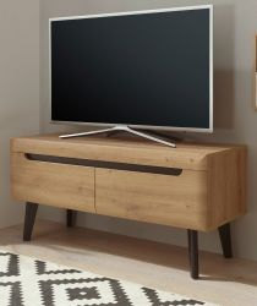 TV-Lowboard Ronson in Artisan Eiche und schwarz TV-Unterteil skandinavisch 107 x 50 cm