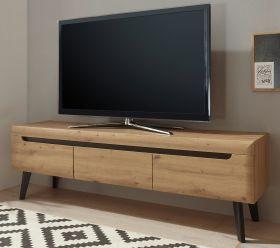 TV-Lowboard Ronson in Artisan Eiche und schwarz TV-Unterteil skandinavisch 160 x 50 cm