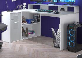 Schreibtisch Gamer in lichtgrau und weiß Eckschreibtisch mit Schubkasten 160 - 200 x 92 cm Gamingtisch