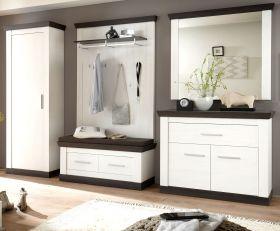 Garderobenkombination Corela in Pinie weiß und Wenge Landhaus Garderobe Set 6-tlg. 307 x 201 cm