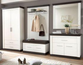 Garderobenkombination Corela in Pinie weiß und Wenge Landhaus Garderobe Set 6-tlg. 341 x 201 cm