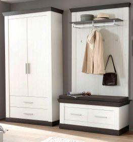 Garderobenkombination Corela in Pinie weiß und Wenge Landhaus Garderobe Set 4-tlg. 224 x 201 cm