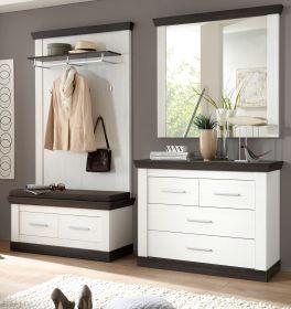 Garderobenkombination Corela in Pinie weiß und Wenge Landhaus Garderobe Set 5-tlg. 224 x 201 cm