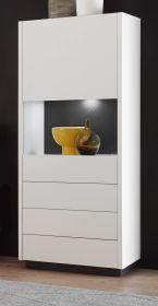Vitrine Design-M in weiß matt und Fresco grau Vitrinenschrank 55 x 140 cm