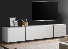 TV-Lowboard Design-M in weiß matt und Fresco grau Flat TV Unterschrank 250 x 50 cm XXL-Board