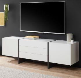 TV-Lowboard Design-M in weiß matt und Fresco grau Flat TV Unterschrank in Komforthöhe 190 x 60 cm