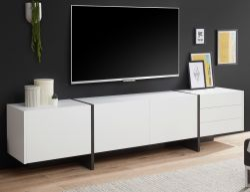 TV-Lowboard Design-M in weiß matt und Fresco grau Flat TV Unterschrank in Komforthöhe 250 x 60 cm XXL-Board