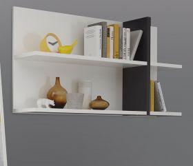 Wandpaneel Design-M in weiß matt und Fresco grau Hängeregal 120 x 64 cm Bücherregal
