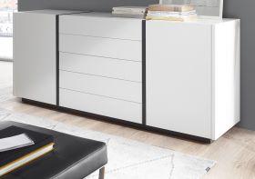 Sideboard Design-M in weiß matt und Fresco grau Kommode 190 x 80 cm
