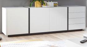 Sideboard Design-M in weiß matt und Fresco grau Kommode 210 x 65 cm