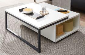 Couchtisch Design-M in weiß matt und schwarz Beistelltisch mit Ablage 90 x 90 cm