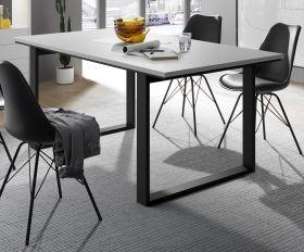 Esstisch Design-M in weiß matt und schwarz Küchentisch 180 x 90 cm