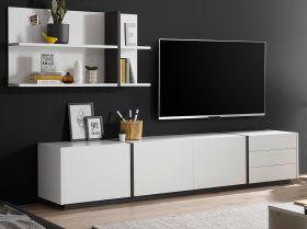 Wohnkombination Design-M in weiß matt und Fresco grau Wohnwand 2-teilig 277 x 170 cm mit XXL-Board und Wandpaneel
