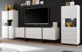 Wohnwand Design-M in weiß matt und Fresco grau Wohnkombination 4-teilig 358 x 170 cm