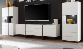 Wohnwand Design-M in weiß matt und Fresco grau Wohnkombination 3-teilig 358 x 140 cm