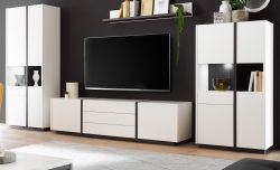 Wohnwand Design-M in weiß matt und Fresco grau Wohnkombination 4-teilig 376 x 185 cm