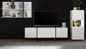 Wohnwand Design-M in weiß matt und Fresco grau Wohnkombination 3-teilig 312 x 170 cm