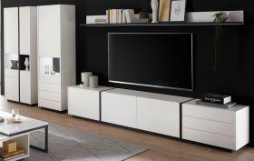 Wohnwand Design-M in weiß matt und Fresco grau Wohnkombination 5-teilig 418 x 185 cm