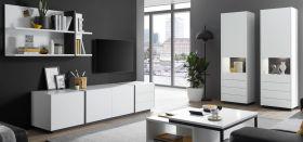 Wohnwand Design-M in weiß matt und Fresco grau Wohnkombination 4-teilig 387 x 185 cm