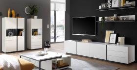 Wohnwand Design-M in weiß matt und Fresco grau Wohnkombination 5-teilig 418 x 170 cm