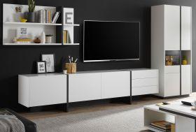 Wohnwand Design-M in weiß matt und Fresco grau Wohnkombination 3-teilig 370 x 185 cm