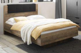 Bett Galen in Eiche Montana Einzelbett mit Polsterkopfteil in grau Liegefläche 140 x 200 cm