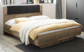 Bett Galen in Eiche Montana Doppelbett mit Polsterkopfteil in grau Liegefläche 180 x 200 cm