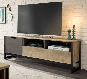 TV-Lowboard Galen in Eiche Montana und Matera grau TV-Unterteil 161 x 53 cm