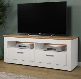 TV-Lowboard Shade in Andersen Pinie weiß und Artisan Eiche Landhaus TV-Unterteil mit Komforthöhe 148 x 59 cm