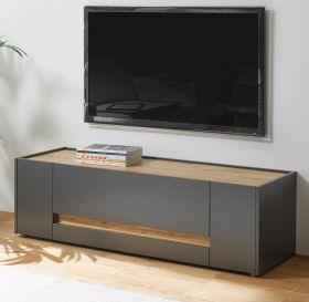 TV-Lowboard Center in grau matt und Wotan Eiche TV-Unterteil 140 x 40 cm
