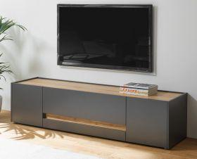 TV-Lowboard Center in grau matt und Wotan Eiche TV-Unterteil 170 x 40 cm