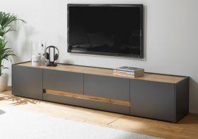 TV-Lowboard Center in grau matt und Wotan Eiche TV-Unterteil 220 x 40 cm TV-Board XL
