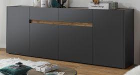 Sideboard Center in grau matt und Wotan Eiche Kommode 220 x 87 cm