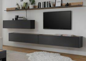 Wohnkombination Center in grau matt und Wotan Eiche Wohnwand 5-teilig mit XXL-Board 340 x 180 cm