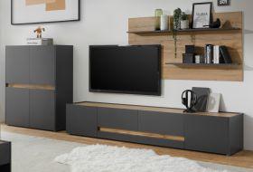 Wohnkombination Center in grau matt und Wotan Eiche Wohnwand 3-teilig 360 x 180 cm mit XL-Board