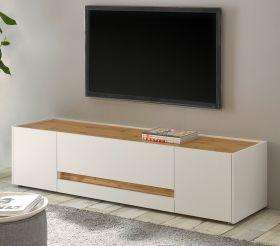 TV-Lowboard Center in weiß und Wotan Eiche TV-Unterteil 170 x 40 cm
